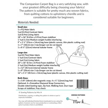 The Companion Carpet Bag by Sewing Patterns by Mrs H: back cover