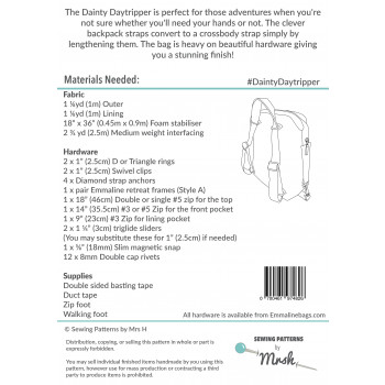 The Dainty Daytripper by Sewing Patterns by Mrs H: back cover