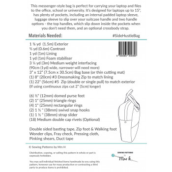 The Side Hustle sewing pattern back cover