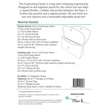The Captivating Clutch sewing pattern by Mrs H: back cover