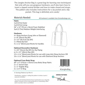 The Jangles Anchor Bag by Sewing Patterns by Mrs H: back cover
