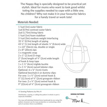 The Nappy Bag by Sewing Patterns by Mrs H: back cover