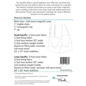 The Squiffy Sling by Sewing Patterns by Mrs H: back cover