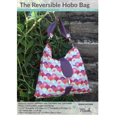 The Reversible Hobo Bag sewing pattern by Mrs H