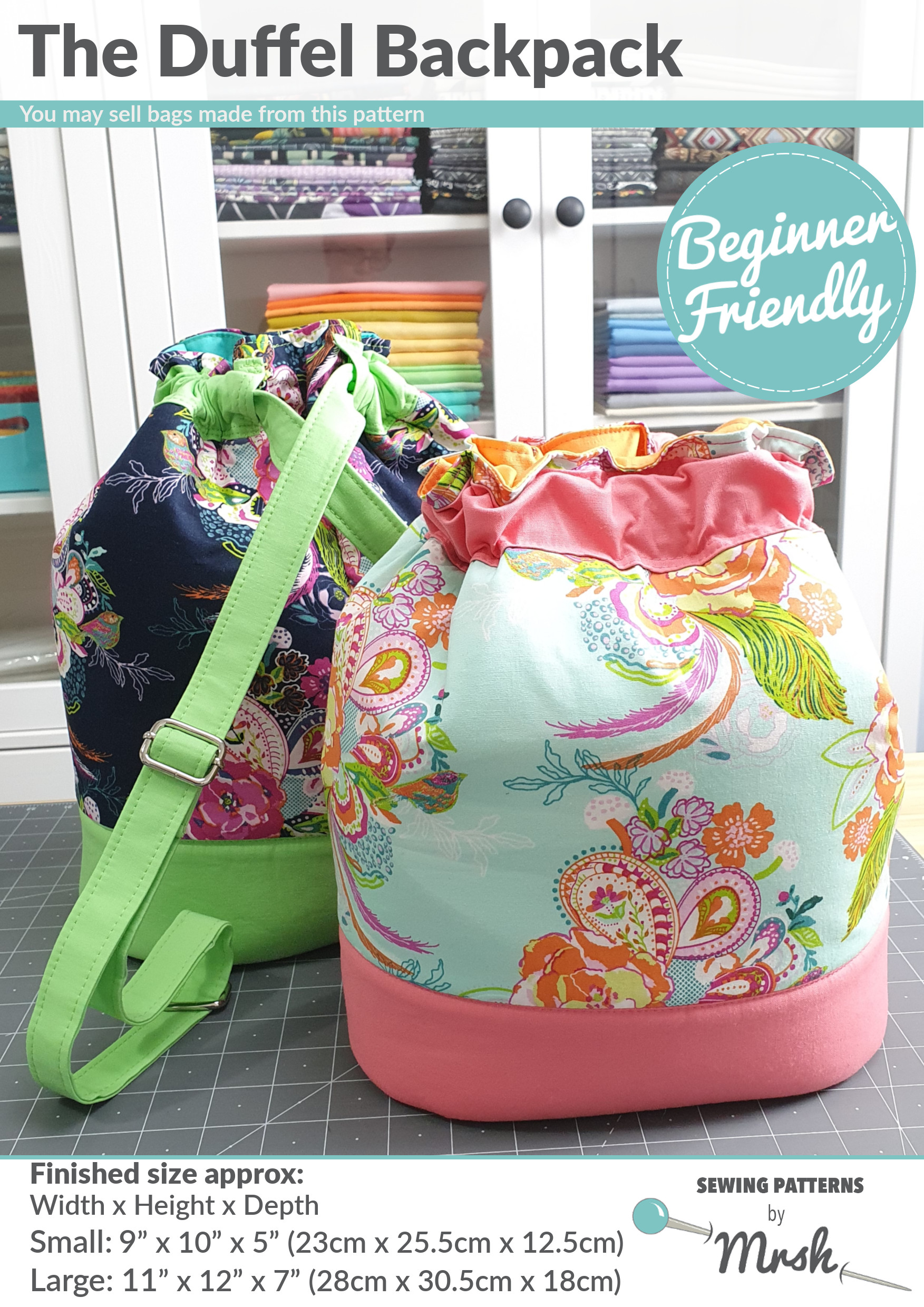 The Duffel Backpack sewing pattern - front cover