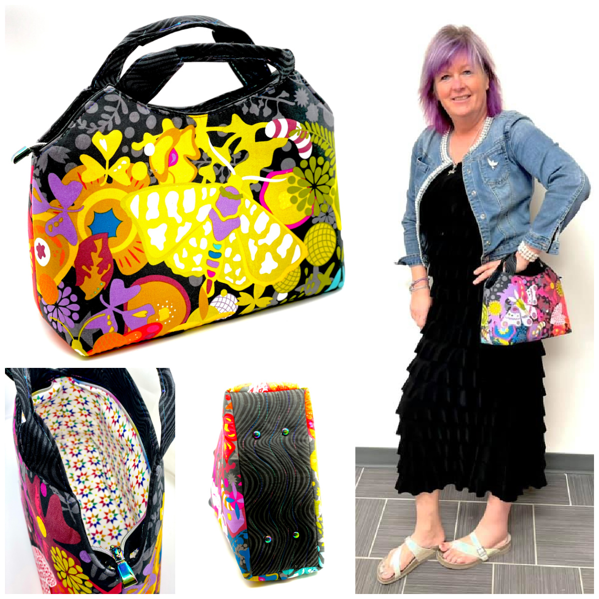 The Hope Handbag from Sewing Patterns by Mrs H, made by Tracy Loyek of Purple Katz Quilting