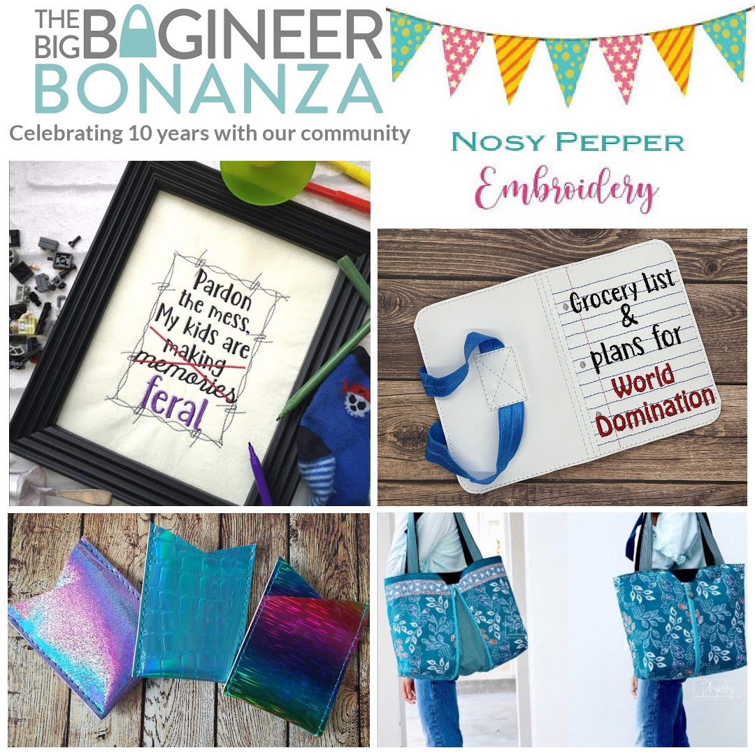 The Nosy Pepper Patterns & Embroidery - sponsoring The Big Bagineer Bonanza 2021