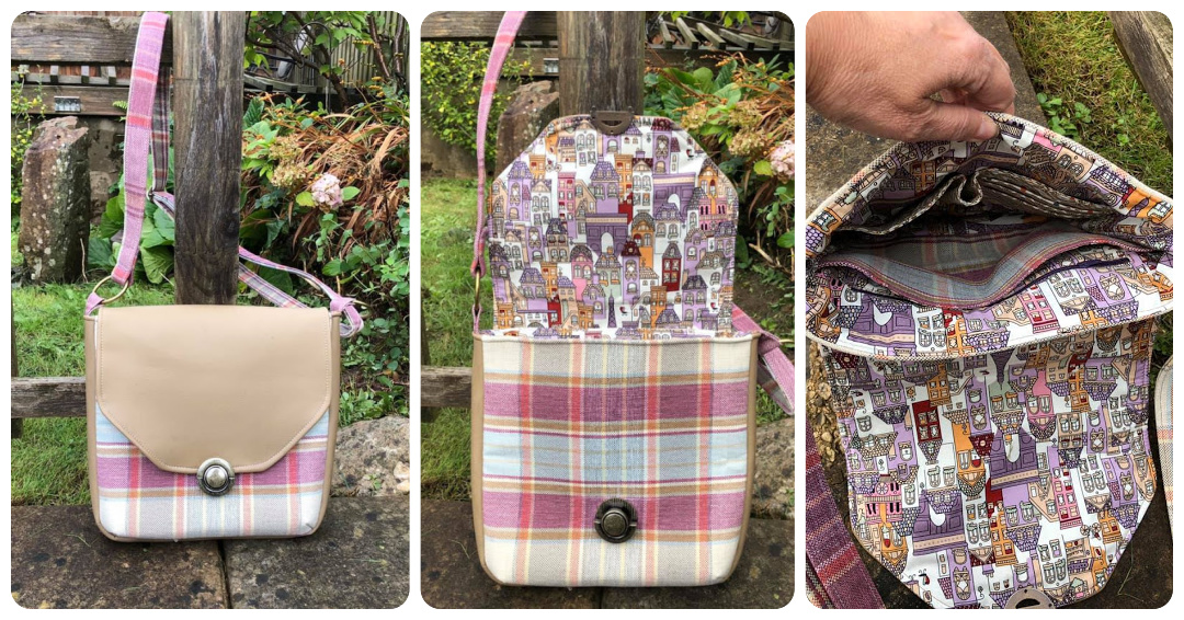 The Button Lock Bag from Sewing Patterns by Mrs H, made by Vanessa Martin