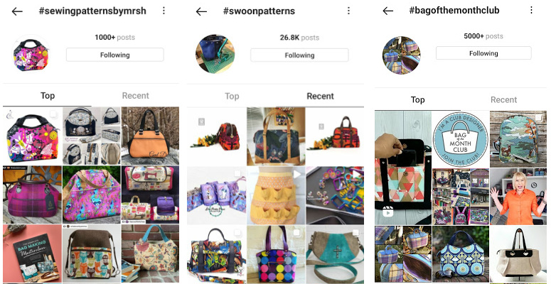 Instagram hashtag results for Sewing Patterns by Mrs H, Swoon Patterns, and Bag of the Month Club