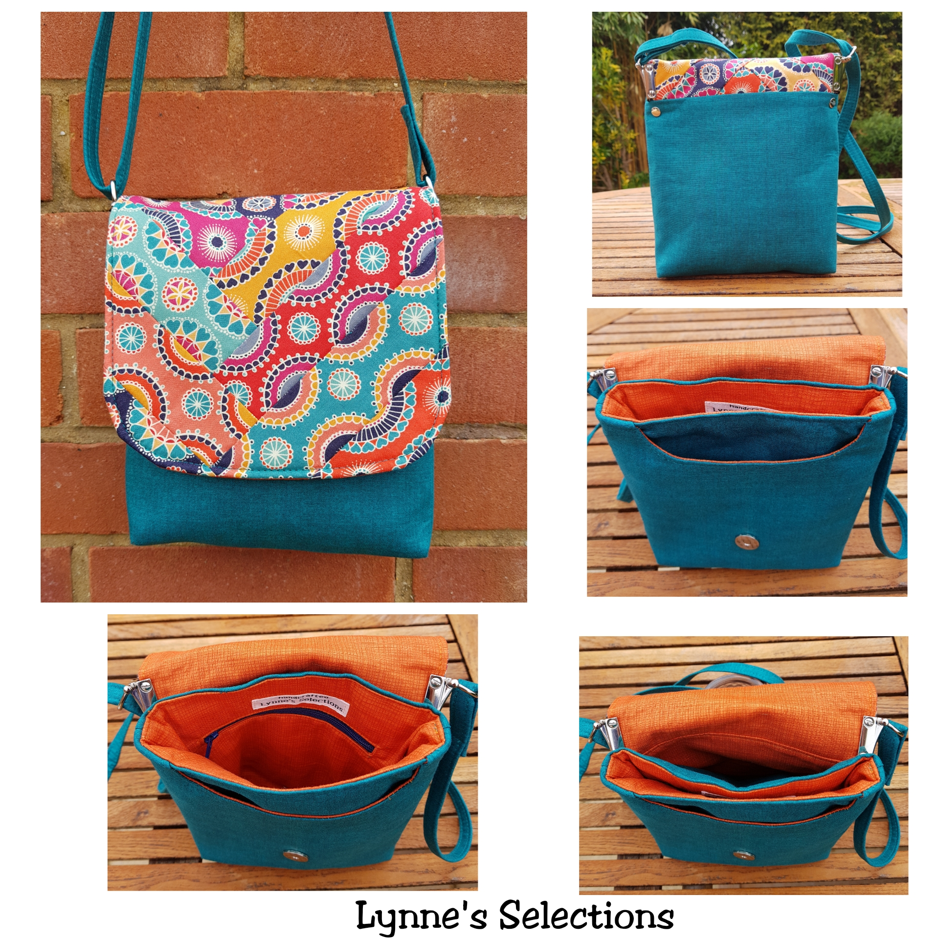 The Crossbody Bag by Sewing Patterns by Mrs H, made by Lynne's Selections