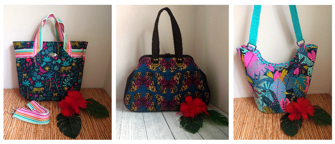 The Fiesta Tote, The Companion Carpet Bag, and The Bucket Tote from Sewing Patterns by Mrs H