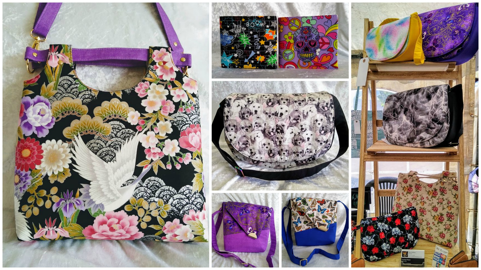 A collage of bags made by Peter Andrews of Ernehale Designs