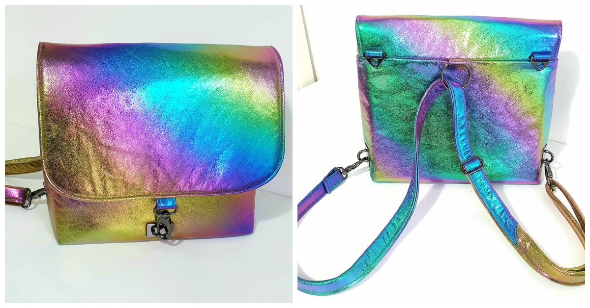 Interchange Crossbody Backpack made by Samantha Hussey using Deep Space soft vinyl from Sew Hungry Hippie