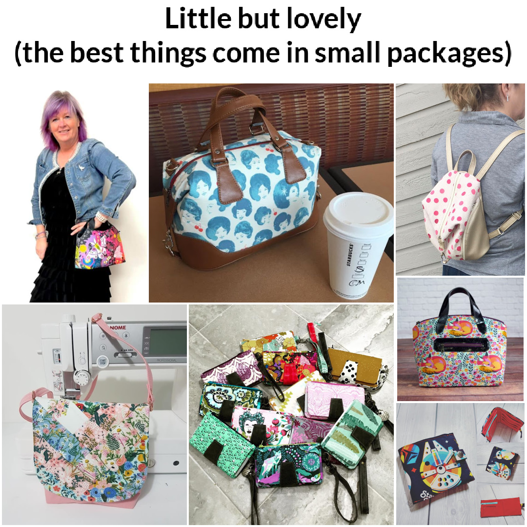 Small sewing patterns for bags, clutches, and wallets
